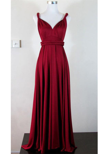 Modest Simple Burgundy Long V-neck Cheap A-line Prom Dresses Z0284