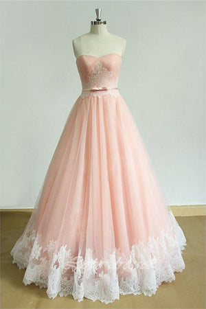 Girly Long Sweetheart Lace Up Pink A-line Tulle Lace Princess Prom Dresses Z0288