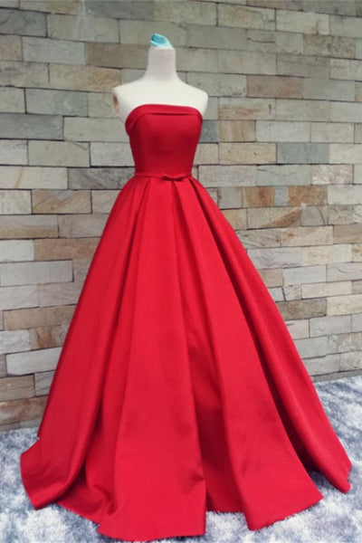 Long Strapless Red A-line Satin Simple Lace Up Princess Prom Dresses Z0291