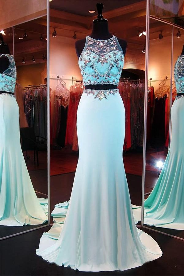 Elegant Sky Blue Long Mermaid 2 Pieces Beading Chiffon Zipper Back Affordable Prom Dresses Z0293