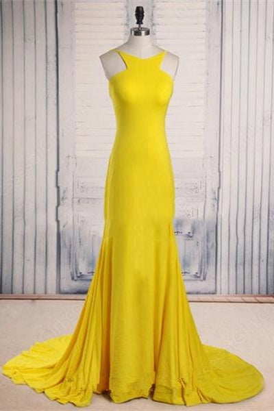 Yellow Long Mermaid Sleeveless Sweep Train Classy Prom Dresses For Teens Z0297