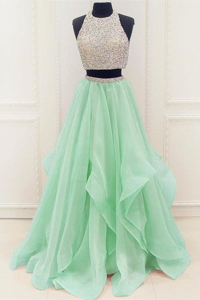Affordable Two Pieces Long Beading Tulle A-line Green Prom Dresses For Teens Z0298