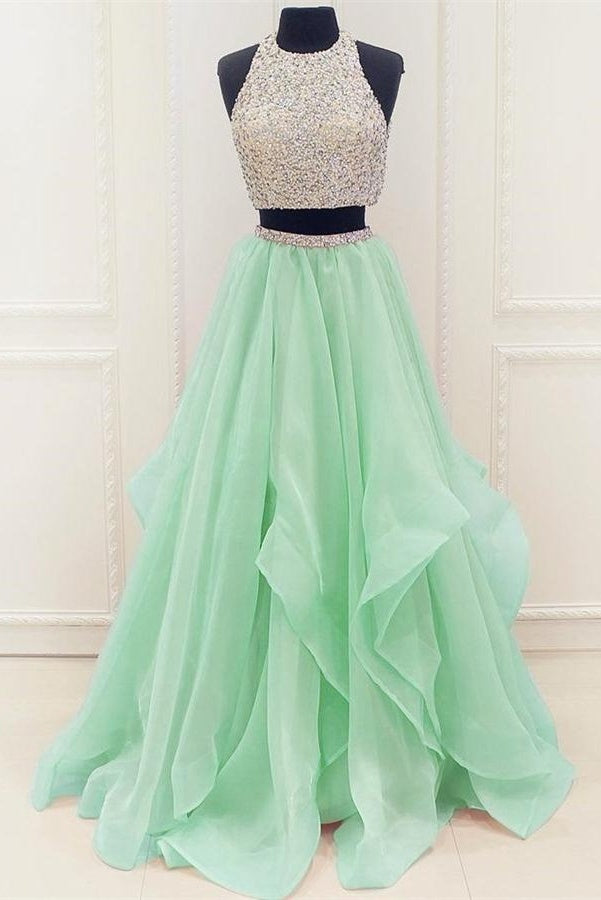 Affordable Two Pieces Long Beading Tulle A-line Green Prom Dresses ...