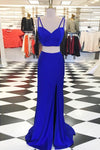 Royal Blue Long Mermaid Simple Cheap Elegant 2 Pieces Backless Prom Dresses Z0299