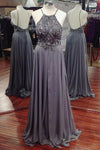 Gray Long Elegant Beading Chiffon Open Back A-line Prom Dresses,Party Dresses Z0300