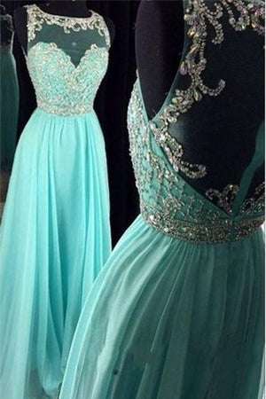 Light Blue Long Beading Chiffon Zipper Back Elegant Prom Dresses For Teens Z0305