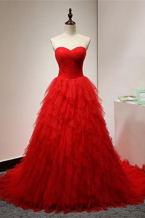 Sparkly Long Modest Red Lace Up Strapless Tulle Prom Dresses,Princess Dresses Z0306