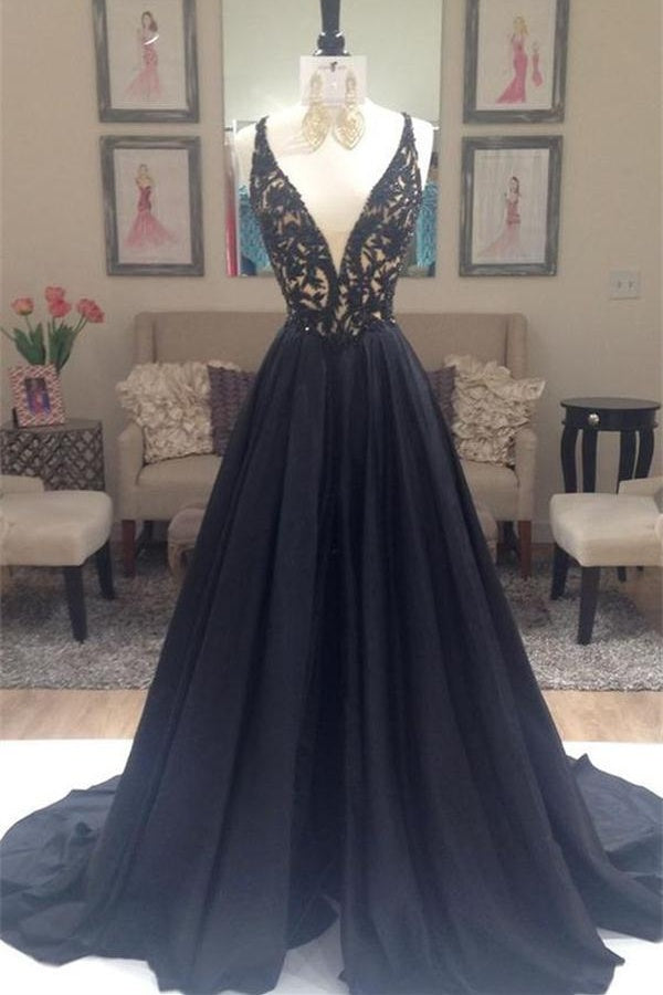 Modest Deep V-neck Long Lace A-line Spaghetti Straps Black Prom Dresses Z0307