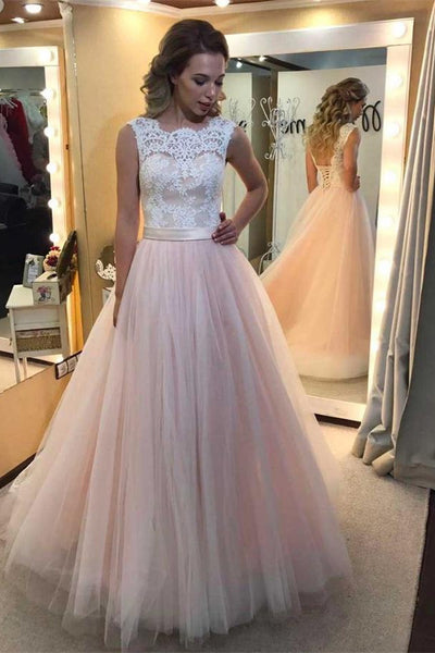 Girly Long Pink Tulle A-line Classy Lace Open Back Princess Prom Dresses For Teens Z0314
