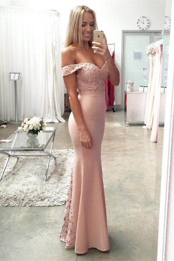 Pretty Off The Shoulder Long Floor Length Zipper Back Lace Prom Dresses Z0316