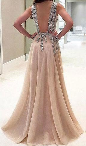 Sparkly V-neck Long Modest Front Split A-line Floor Length Prom Dresses Z0318