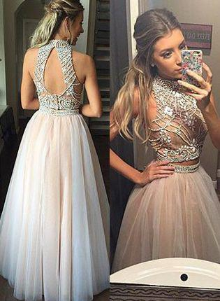 2 Pieces Long A-line Ivory Tulle Beading High Neck Prom Dresses,Party Dresses Z0319