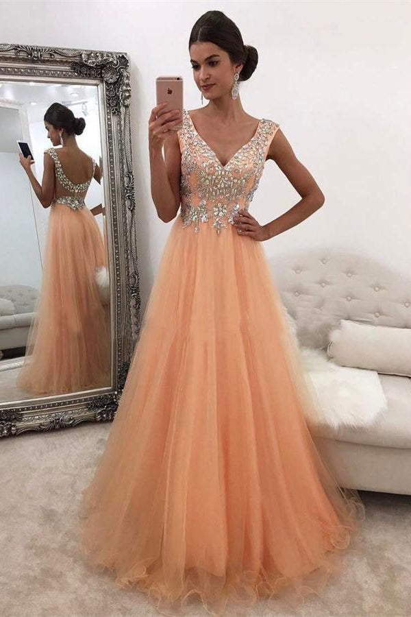 V-neck Long Sparkly Open Back Flowy Prom Dresses,Wedding Party Dresses Z0325