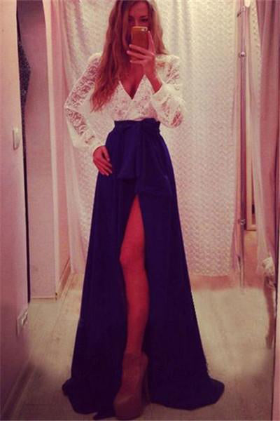 Royal Blue And Ivory Long Lace Chiffon A-line V-neck Prom Dresses Z0332