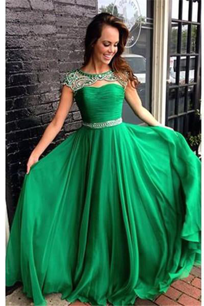 Cap Sleeves Long Beading Chiffon A-line Open Back Prom Dresses Z0333