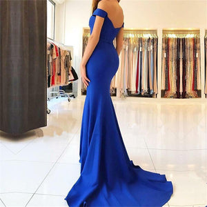 Royal Blue Long Mermaid Off The Shoulder Sweep Train Pretty Prom Dresses Z0337