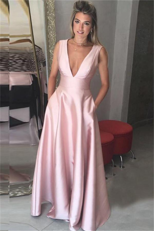 Girly Pink A-line Deep V-neck Elegant Prom Dresses With Pockets Z0341