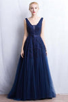 Navy Blue Long V-neck Lace A-line Pretty Modest Prom Dresses Z0343