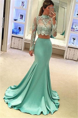 Mint 2 Pieces High Neck Elegant Mermaid Lace Prom Dresses With Sleeves Z0347
