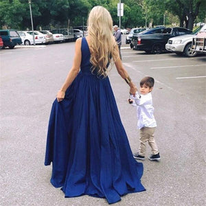 Simple Flowy Long Deep V-neck Backless A-line Cheap Prom Dresses Z0349