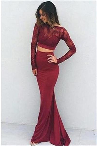Burgundy Long 2 Pieces Long Sleeves Lace Mermaid Prom Dresses Z0351