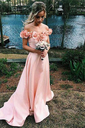 Girly Pink Off The Shoulder Long A-line Brush Train Prom Dresses,Bridesmaid Dresses Z0353