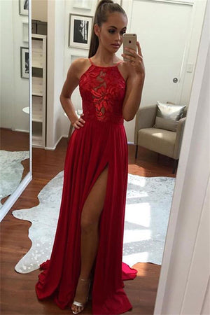 Beautiful A-line Long Red Lace Chiffon Modest Front Split Prom Dresses Z0356