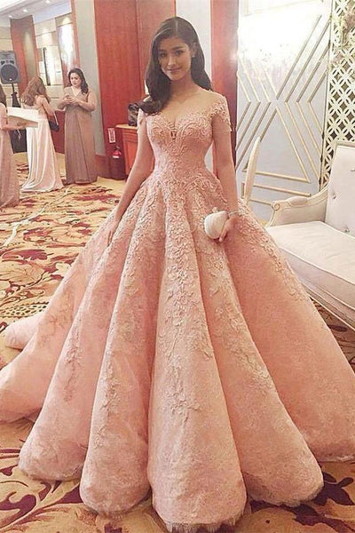 Pink Short Sleeves Ball Gown Long Lace Elegant Princess Prom Dresses ...