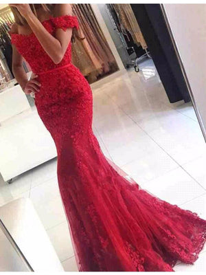 Pretty Mermaid Off The Shoulder Long Lace Beaded Red Prom Dresses Z0365
