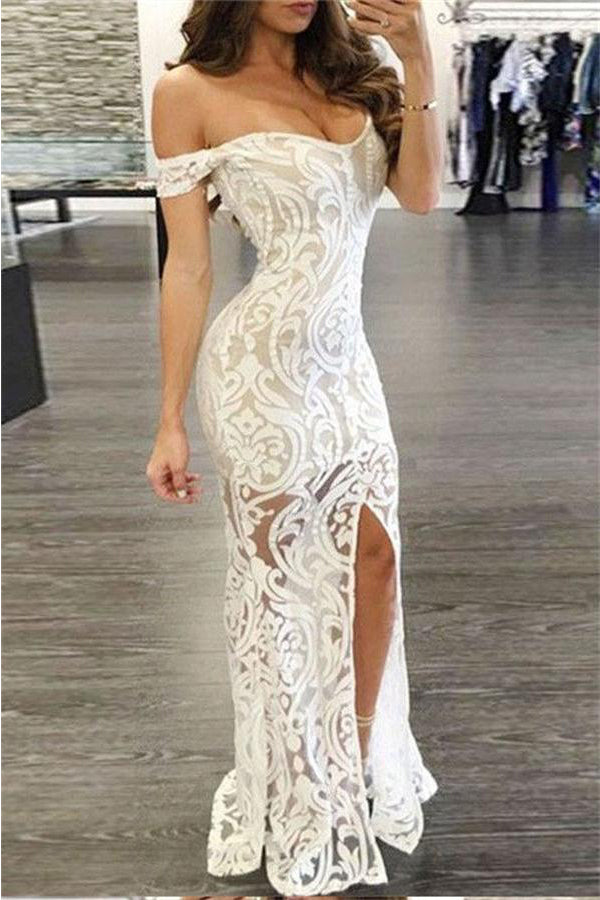 Simple White Long Lace Mermaid Off The Shoulder Prom Dresses With Split Z0366