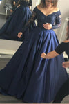 Long Sleeves Blue Ball Gown Lace Satin Modest Princess Prom Dresses Z0367