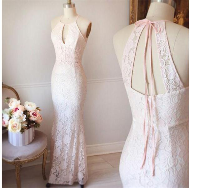 Mermaid Pink Elegant Long Lace Simple Cheap Girly Prom Dresses Z0369 ...