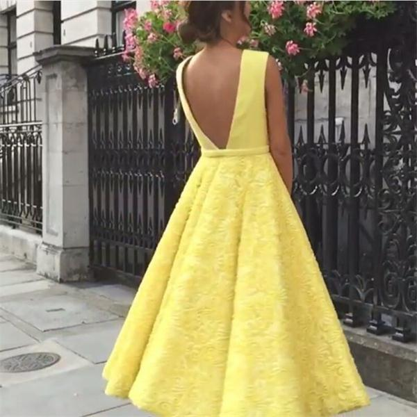 Modest Yellow Deep V Neck Lace Backless Tea Length Prom