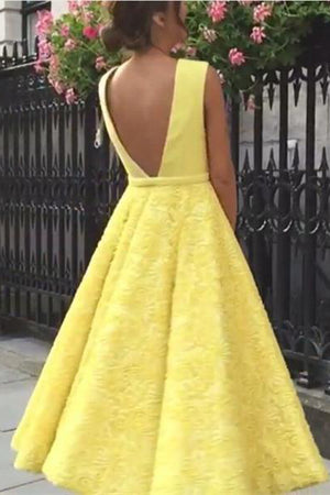 Modest Yellow Deep V-neck Lace Backless Tea Length Prom Dresses Z0370