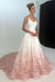 Pink Applique Modest Long Lace A-line Spaghetti Straps Princess Prom Dresses Z0372