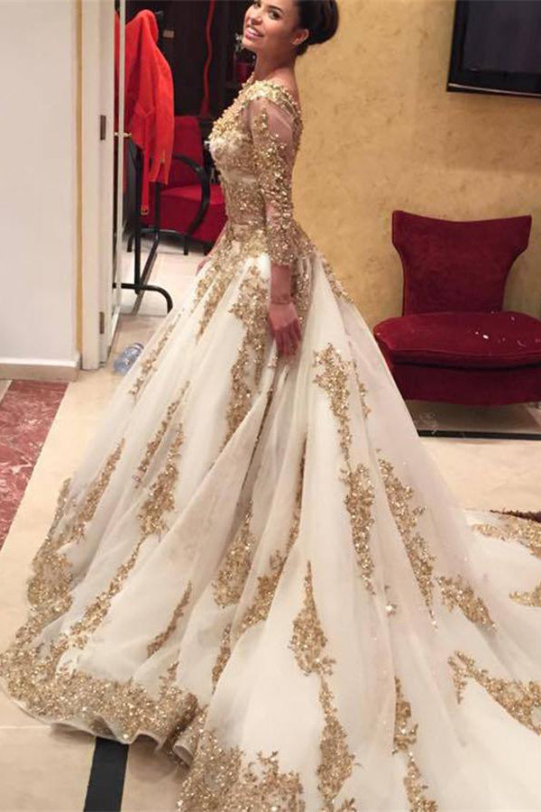 Sparkly Square Long Ball Gown Lace Long Sleeves Princess Prom Dresses Z0375