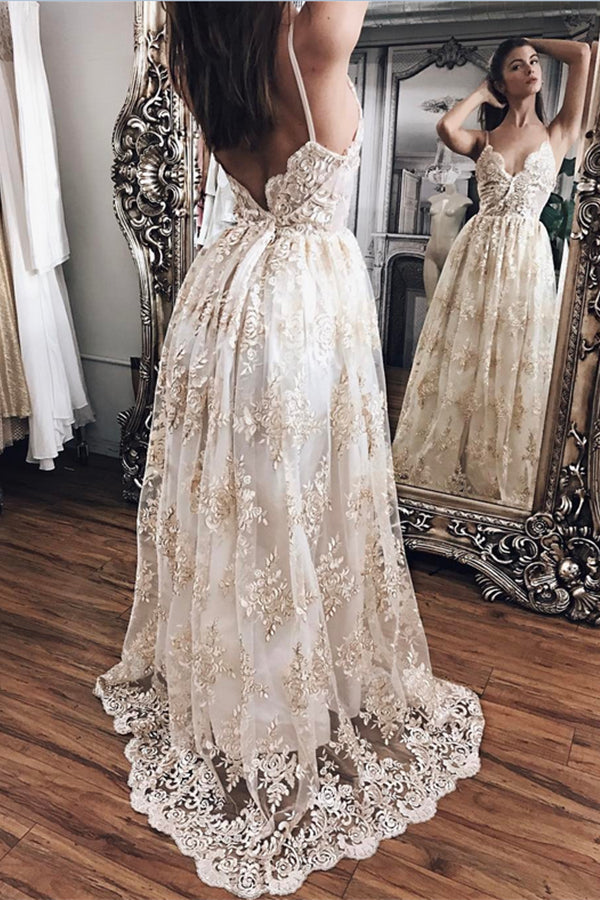 Elegant Sparkly Long Lace Spaghetti Straps V-neck Open Back Prom Dresses Z0376
