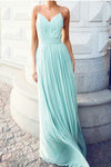 Elegant Spaghetti Straps Long Backless Chiffon Mint Cheap Prom Dresses Z0381