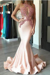 O-neck Lace Mermaid Pink Long Sleeveless Simple Elegant Cheap Prom Dresses Z0384