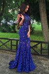 Sparkly Royal Blue Long Mermaid Backless Lace Beading Beautiful Prom Dresses Z0385