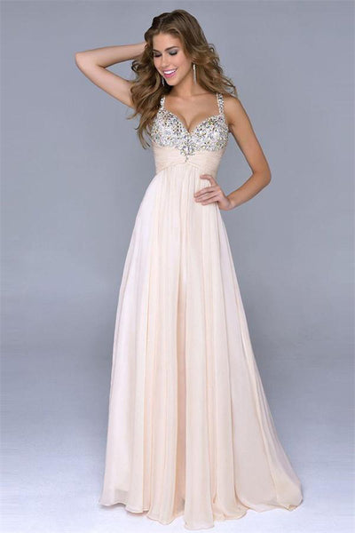 A-line Spaghetti Straps Long Beading Zipper Back Chiffon Beauty Prom Dresses Z0391