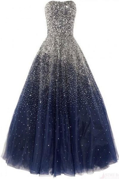 Lace Up Sequin Shiny Navy Blue And Silver Strapless Ball Gown Princess Prom Dresses Z0394