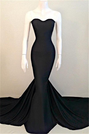 Mermaid Long Black Sweetheart Simple Cheap Sweep Train Prom Dresses Z0395