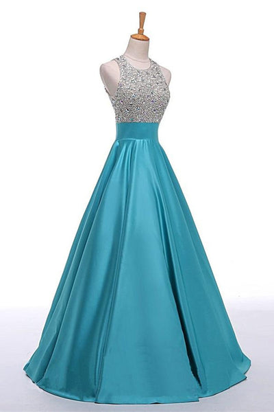 A-line Blue Sleeveless Long Beaded Satin Prom Dresses With Pockets Z0399