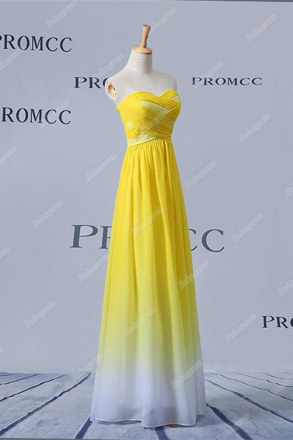 Yellow And White Long Sweetheart Ombre Chiffon Prom Dresses,Bridesmaid Dresses Z0401
