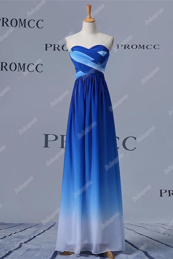 Royal Blue And White Long Strapless Prom Dresses