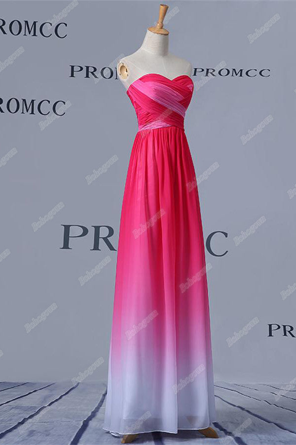 Sweetheart Pink And White Long A-line Girly Prom Dresses,Bridesmaid Dresses Z0403