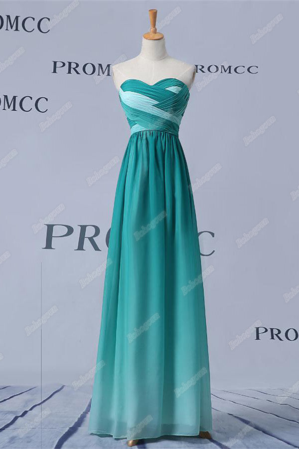 Teal Long Sweetheart Ombre Chiffon Simple Prom Dresses,Bridesmaid Dresses Z0404
