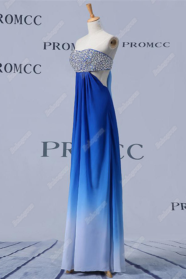 Royal Blue Gradient Chiffon Long Beading Strapless Beautiful Prom Dresses Z0405
