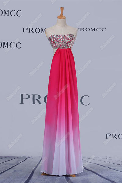 A-line Pink Ombre Chiffon Long Beading Sweetheart Prom Dresses For Teens Z0406